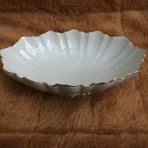 Lenox Symphony Gold Edged Scalloped Oval Bowl